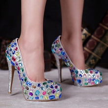 Elegante Handgefertigte Brautkleid Schuhe Dame-Fashion High Heel Schuh Nachtclub Shinning Tanzen Prom Schuhe