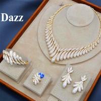 Dazz Luxury Water Drops Tassels Shiny Zircon Gold Women Wedding Jewelry Set Naija Bridal Ring Bangle Sets Dubai Accessories 2019
