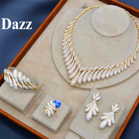 Dazz Luxury Water Drops Tassels Shiny Zircon Gold Women Wedding Jewelry Set Naija Bridal Ring Bangle Sets Dubai Accessories 2019