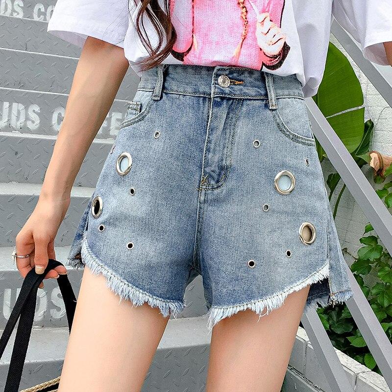 Fashion Sequined Hole Tassel Jean Shorts 2018 New Summer Casual Pocket Frayed Fringe Shorts Women Irregular Denim Shorts