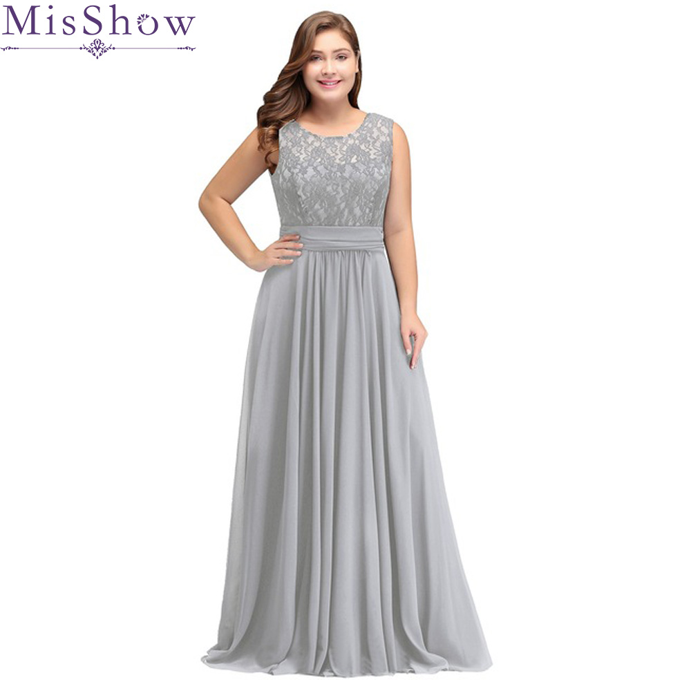 Robe De Soiree 2019 Silver Plus Size Evening Dresses Elegant A Line Scoop Neck Sleeveless Lace Long Formal Wedding Party Gowns