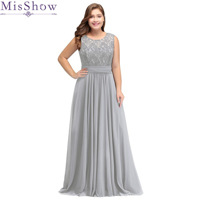 US $36.99 42% OFF|Robe De Soiree 2019 Silver Plus Size Evening Dresses  Elegant A Line Scoop Neck Sleeveless Lace Long Formal Wedding Party  Gowns-in ...