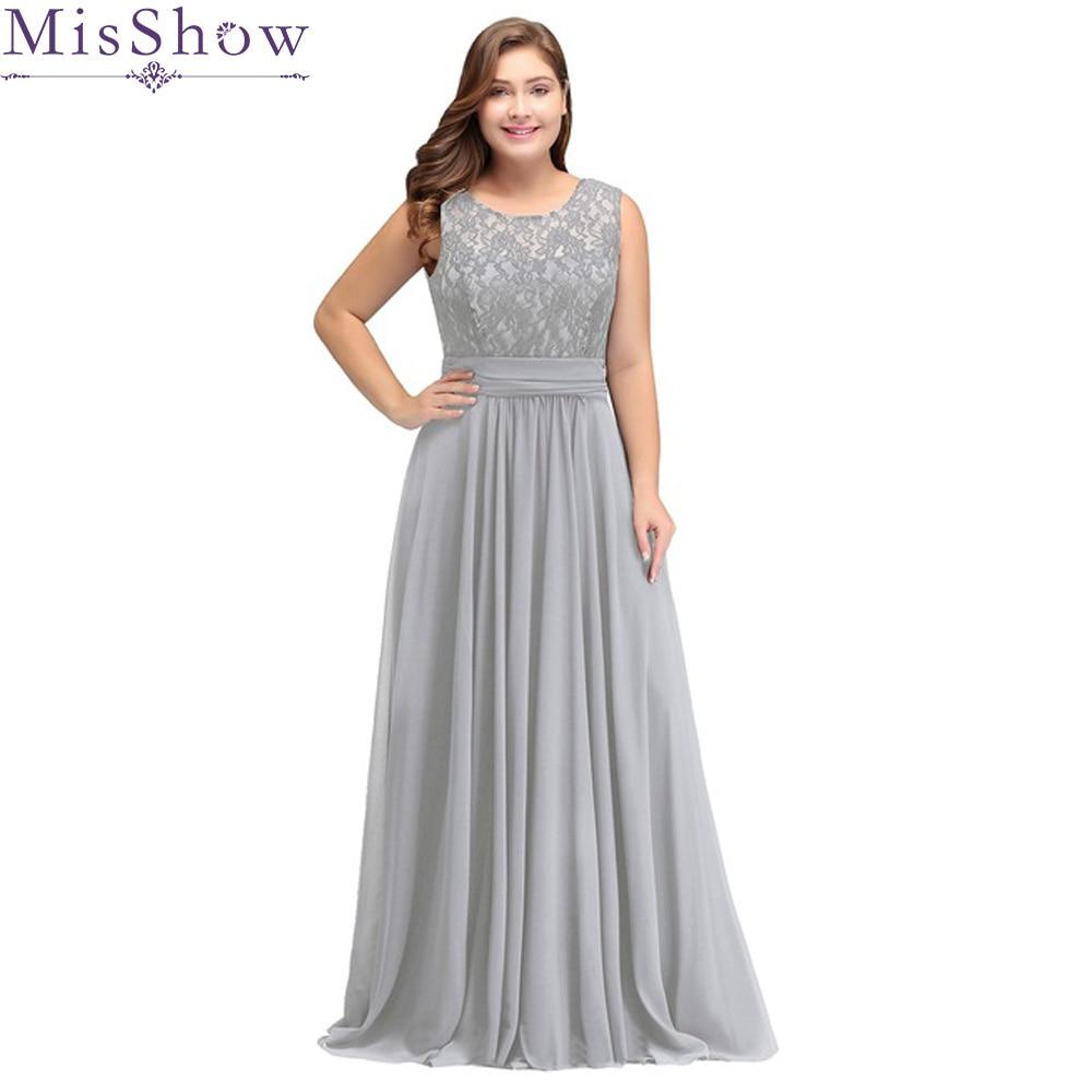 f84a11ce11 Cheap Vestido De velada De plata 2019 Plus tamaño vestidos De noche una  línea elegante cuello