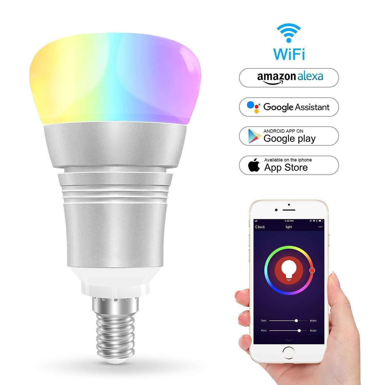 Smart Led Lamp Wifi Light Bulb for Amazon Alexa Google Home E14,7W Dimmable Remote Control Multicolor LED Colorful Mood Light