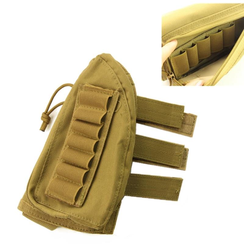 Tactical Shotgun Ammo Pouch Hunting Bullet Pouch 12 Shells Butt Stock Shell Cartridge Holder Ammo Carrier