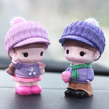 2PCS Creative Couple Doll Decoration Home Desktop Car Resin Cartoon Boy Girl Festival Gift Decorations