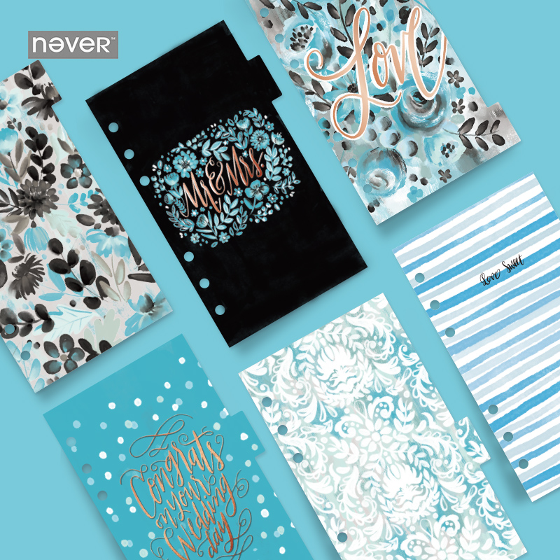 6pc/set NEVER Ocean Spiral Notebook dividers index pages 6 hole loose planner A6 Bookmark gift stationery office school supply never korean spiral notebook 6 hole loose leaf inside page index page for filofax planner a6 dividers bookmark school stationery
