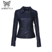 AORRYVLA 2017 New Autumn Women Faux Leather Jacket Fashion Red Color Turn-Down Collar Zippers Short Ladies PU Leather Jacket