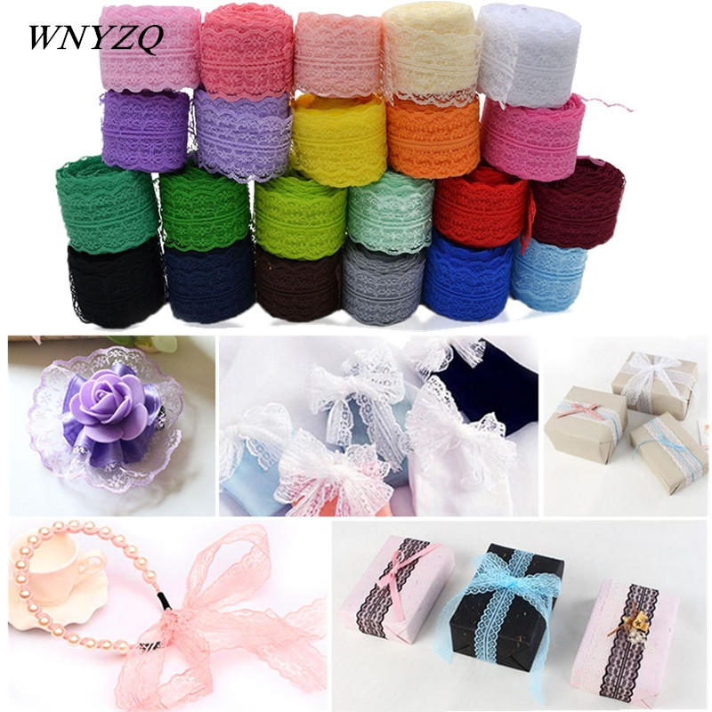 4.5cm*10m/roll Lace Ribbon Tulle Roll Clothes Skirt Gift Box Packaging Supplies Fabric Embroidered Sewing Accessories Decoration