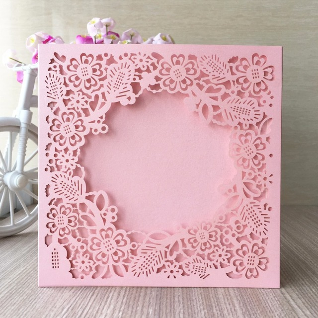 25pcs Laser Cut Wedding Invitations Cards Elegant Flowers Custom Printing Birthday Party Invitation Card Casamento Event