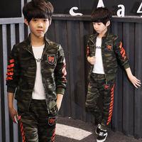 2019 Boys Spring Autumn Camouflage Coat Pants 2pcs Tracksuit Suit Clothes Set Kids Boys Camouflage Sports Suit Children Clothing