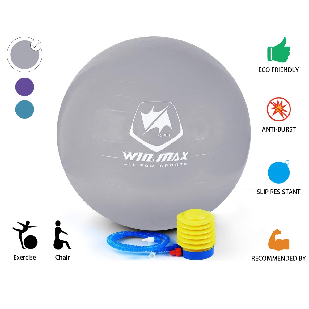 2016 Winmax Fashion Hot Style 75cm Exercise Workout Fitness Gym Yoga Anti Burst Swiss Core Ball Purple/ Blue/Grey