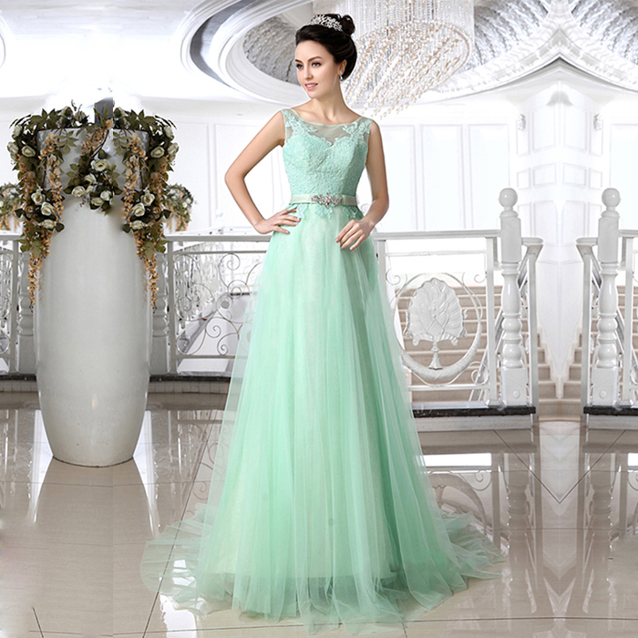 Crystal Mint Green Lace Wedding Dresses Jewel Neck Zipper Back Bride Dress Tulle Court Train Gowns Wd113 In From