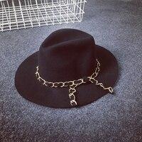 Kış Siyah kadın Yün Fedora Şapka Chapéu Feminino Yay Büyük Ağız Elbise Kilisesi Şapkalar Ücretsiz Kargo SCCDW-013