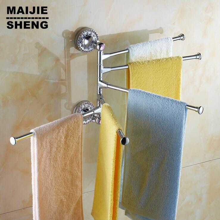 Porte-serviettes en laiton massif de Style salle de bain en laiton Antique porte-porte-serviettes de bain à quatre niveaux en laiton