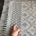 Скандинавский богемный ковер с мелкими зонами  хлопковый ручной ткацкий коврик с кисточками  коврик для дивана  гостиной  прикроватный  60x90  ...