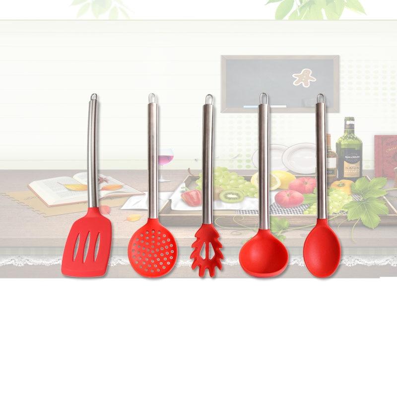 food grade antiaderente 5 pz da cucina in silicone scanalato cucchiaio da minestra mestolo turner pasta cucina strumenti di cott