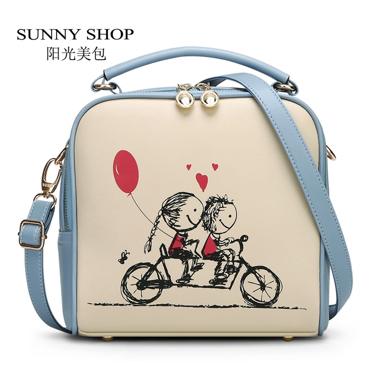 SUNNY SHOP Summers Cartoon Candy Color Women Bag School Bicycle Girls Shoulder Bags Cute Small Messenger Bags Gifts For Children sunny shop candy color cute shoulder bags with bear charm women small messenger bags zipper christmas gifts for teenage girls