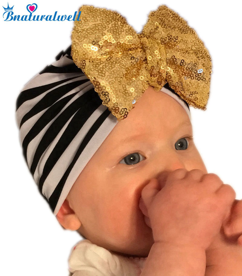 Bnaturalwell Baby Turban Hat With Bow Turbans For Tots Kids Children Topknot Beanie Baby Girls Shower Gift Stretchy Cotton H120D