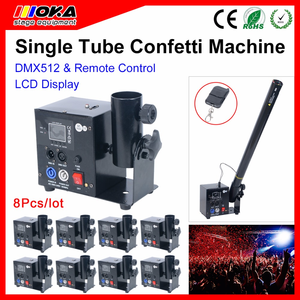 8 Pcs/lot Wedding Party Confetti Cannon with DMX512/ Remote control One Head Shot Electric Confetti streamer confetti  Launcher 2pcs lot mini confetti launcher machine dmx confetti cannon lcd display for stage wedding party disco