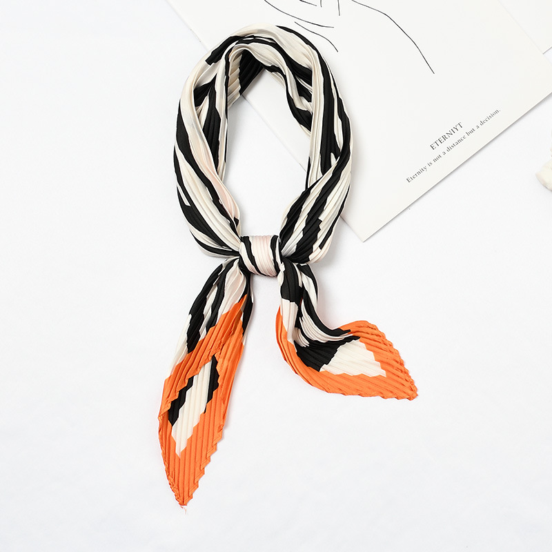 HOT Square Crinkle Small Silk Neck Scarf For Women Crumple Neck Wear Pleated Print Foulard Female Bandana Handkerchief