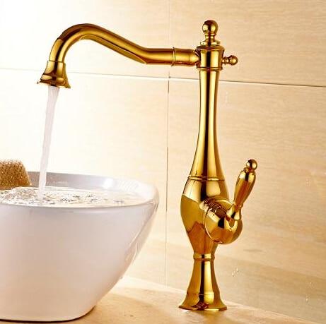 Новое поступление, кран для раковины с одним рычагом, кран для горячей и холодной воды, золотой кухонный кран для раковины, водопроводный кр...