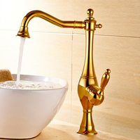 New Arrivals Single Lever Basin Faucet Hot And Cold Water Tap Gold Kitchen Sink Faucet Water