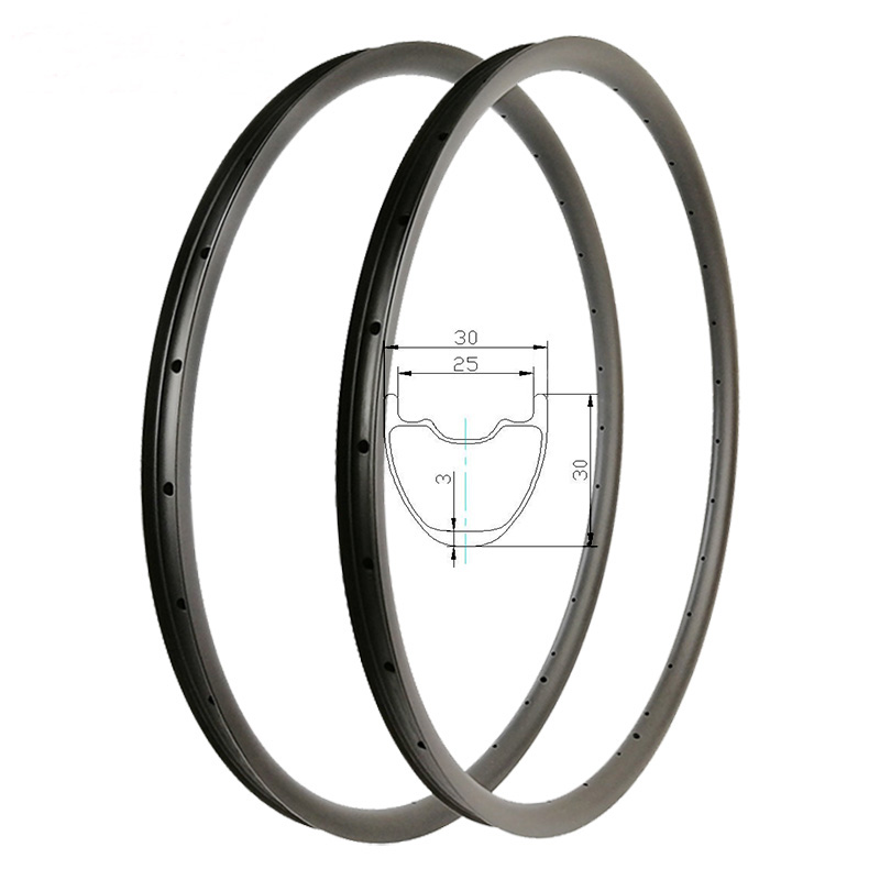 Light 29er XC hookless Carbon Rims MTB 30mm height 30mm wide T800 UD Mate Brillante Crosscountry