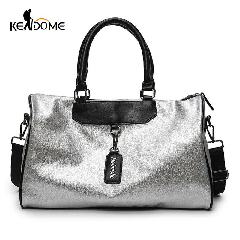 De plata bolsa de dama bolsa de equipaje en bolsas de viaje con la etiqueta bolsa gimnasio bolsa de cuero de las mujeres de Yoga Fitness sac de deporte gran XA806WD