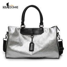цена на Silver Sports Bag Lady Luggage Bag in Travel Bags with Tag Duffel Gym Bag Leather Women Yoga Fitness sac de sport Big XA806WD