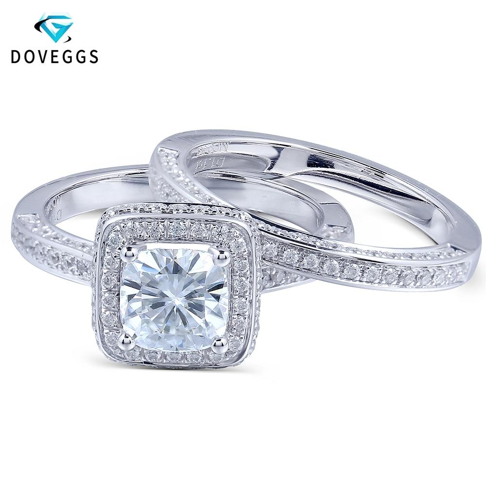 DovEggs Solid 14K 585 Weißgold 1 Karat VG Farbe Cushion Cut Moissanite Diamant-Verlobungs-Ehering-Set für Frauen