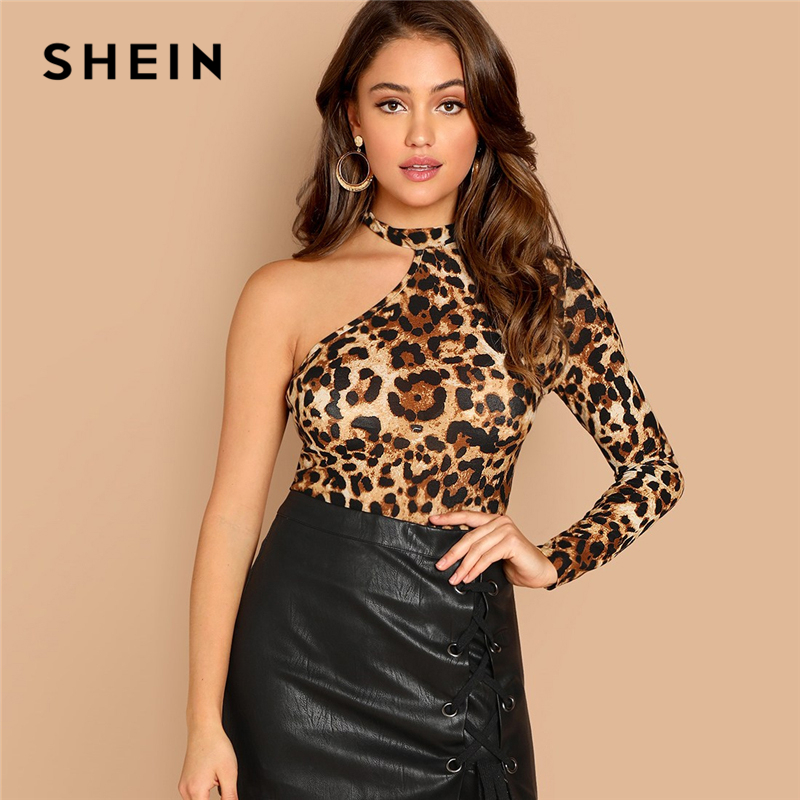 SHEIN Multicolor One Shoulder Leopard Print Tee Casual Long Sleeve Asymmetrical Neck Tops Women Autumn Slim Fit Cut Out T-shirt