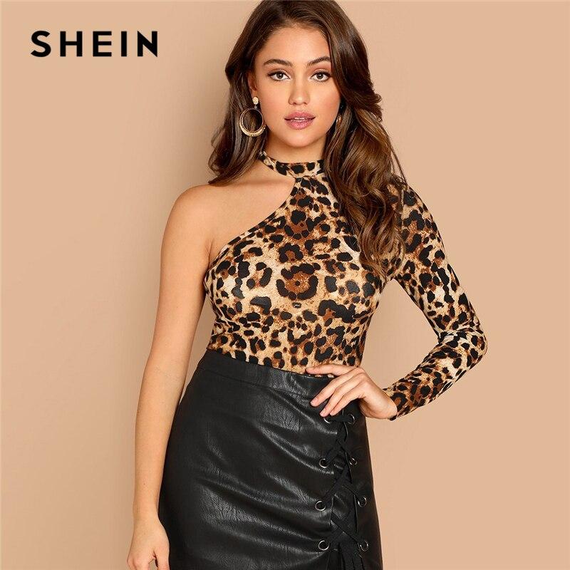 SHEIN multicolore une épaule imprimé léopard T-shirt décontracté à manches longues col asymétrique hauts femmes automne Slim coupe découpée T-shirt