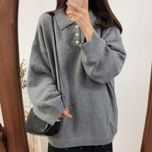 Solid Colors Knitting Womens Sweater Pullover Female Fashion Vintage Loose Turndown Button Women Winter 2019