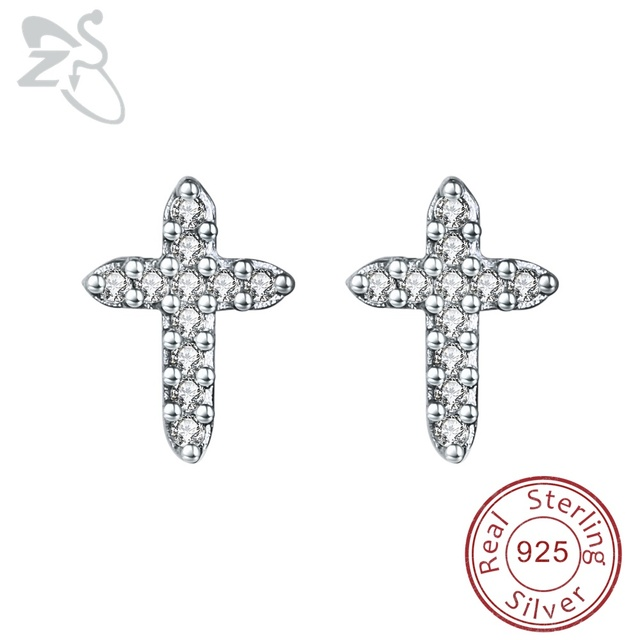 Silver Cross Earrings For Women 925 Studs Cartilage Piercing Rhinestone Ear