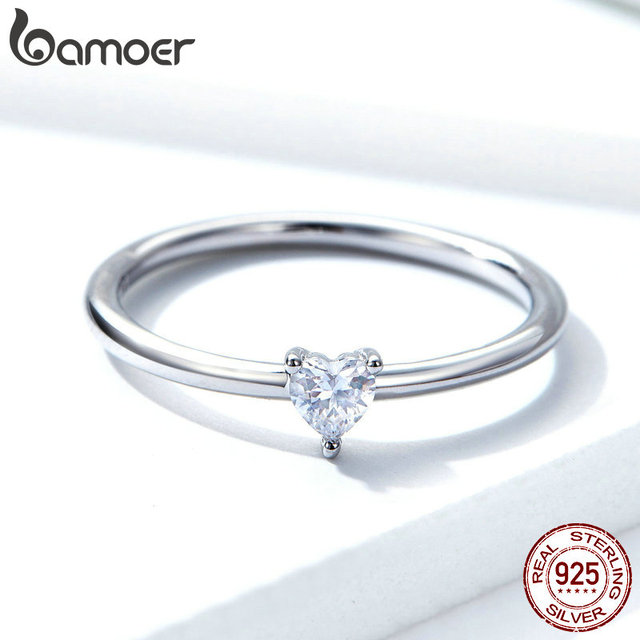 BAMOER HOT SALE 925 Sterling Silver Heart Clear CZ Simple Finger Rings for Women Engagement Wedding Statement Jewelry  SCR498 4