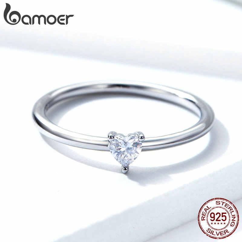 Bamoer venda quente 925 coração de prata esterlina claro cz simples anéis de dedo para as mulheres de noivado de casamento de jóias scr498