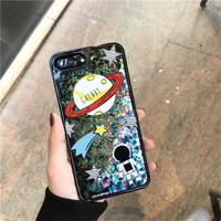 Astronauts Bear Ryan Phone Cases Dynamic Liquid Bling Stars Glitter Quicksand Coque For IPhone 6 6s