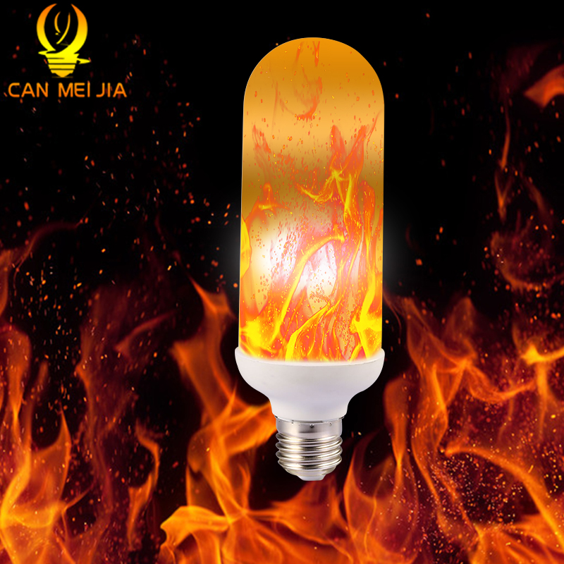 CANMEIJIA E27 LED Flame Effect Light Bulb 7W Flickering Emulation Fire Lights Lamps 110V 220V Decorative Lamp lan mu 220v flame fire light led bulb