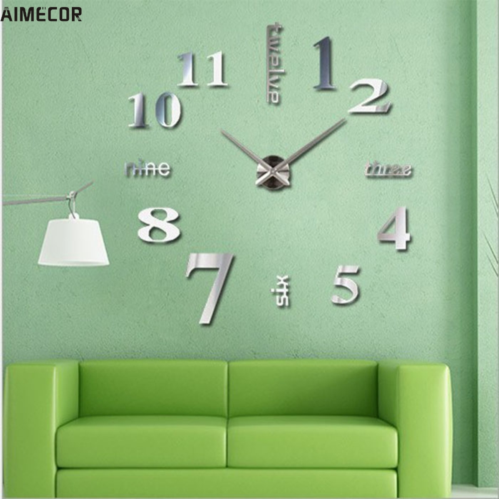Aimecorhome Living Room Bedroom Home Docerate Wall Clock Modern DIY Large Wall Clock 3D Mirror Surface <font><b>Sticker</b></font> Home <font><b>Office</b></font> Decor
