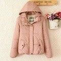 2016 новая мода зима хлопок точка вышивка хлопок хлопок случайные хлопка-ватник пальто