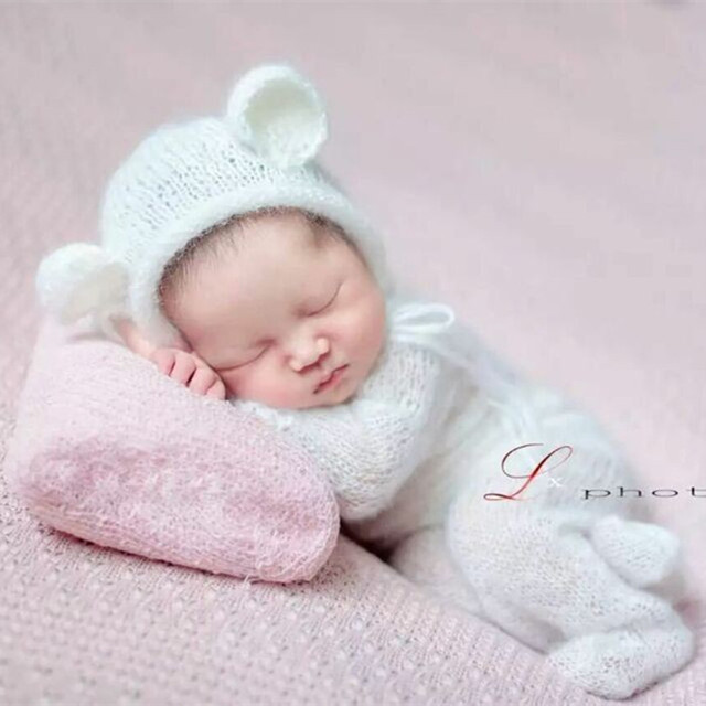 Handknit Rolled Edge Bear Hat Newborn Mohair Romper Set Baby Onesie Footed Romper  Baby Clothes Newborn Pants Photogrpahy Props 8fda985a4fb2