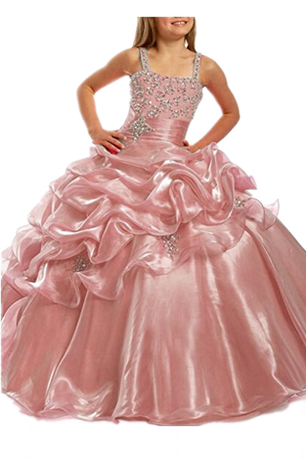 Real Photo Kids Organza Evening Party Crystal Beading Floor Length ...