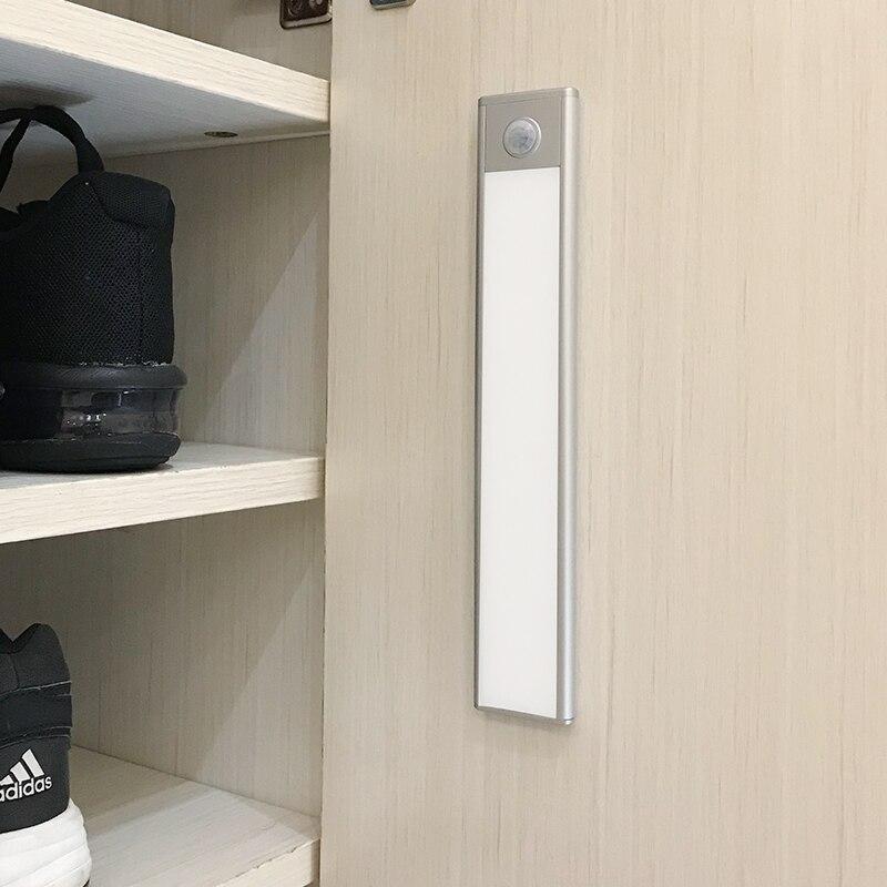 23/40/60CM PIR Motion Sensor LED Under Cabinet Light USB Rechargeable Wardrobe Closet Night Light For Kitchen Indoor Wall lamps