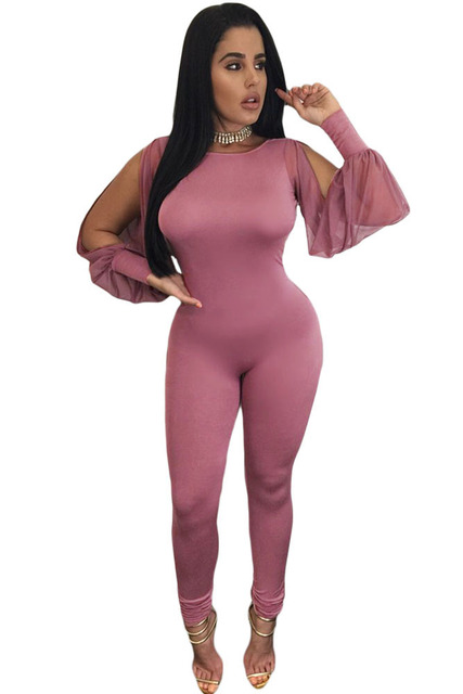 Women Purplish Sheer Split Jumpsuits 2016 Autumn New Sexy Lady Backless Long Sleeve Bodycon Cut Out Jumpsuits Long Pants Rompers