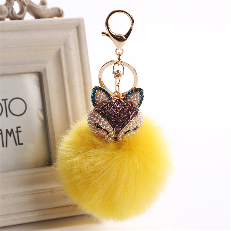 2017 New Artificial Rabbit Fur Ball Keychain Rhinestone Crystal Fox Head Pompon Trinket Key Chain Handbag Fluffy Key Ring Holder 18