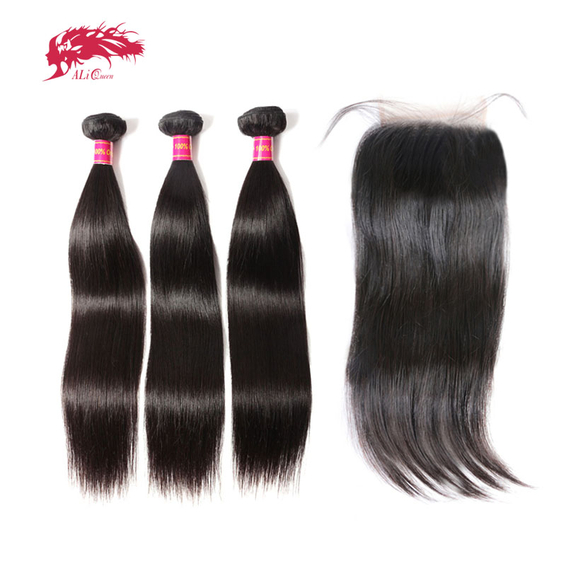 Ali Queen Brazilian Straight Virgin Human Hair 2 or 3 Bundles With 4x4 Swiss Lace Closure Middle Free Three Part Pre-Plucked
