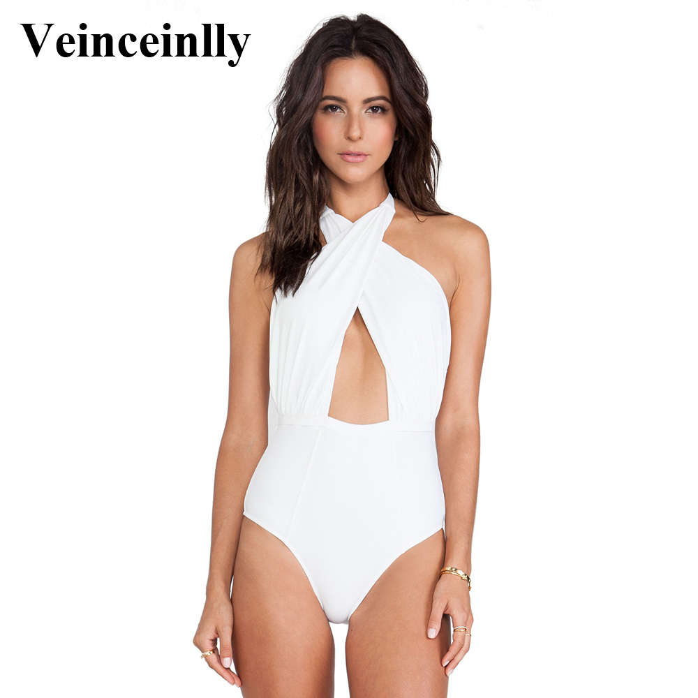 14d3524131 2018 Black White Sexy cross wrap around halter neck swimsuit high waist one  piece swimwear women female bathing suit swim Y31