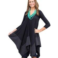 Asymmetrical Chiffon Dresses Loose V Neck Long Sleeve Solid
