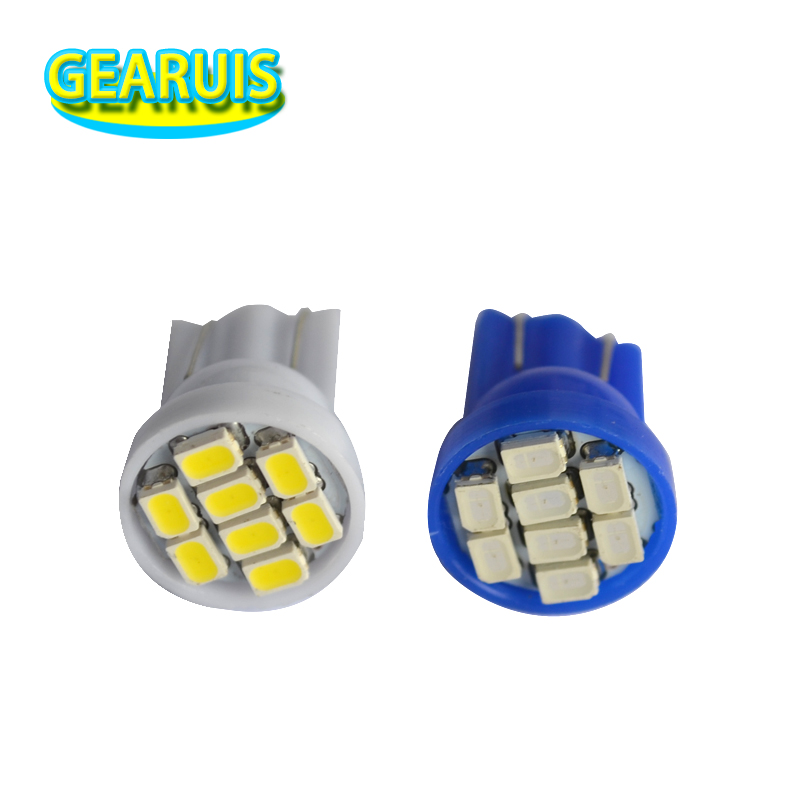 100pcs/lot AC DC 6V 6.3V <font><b>T10</b></font> 555 Non polar 8 SMD 1206 3020 194 168 <font><b>LED</b></font> Bulbs Wedge Car Door Lights White Red <font><b>Blue</b></font> Green Yellow image